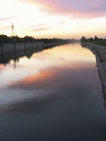 novosibirsk: Russia. Novosibirsk. Shipping lock canal