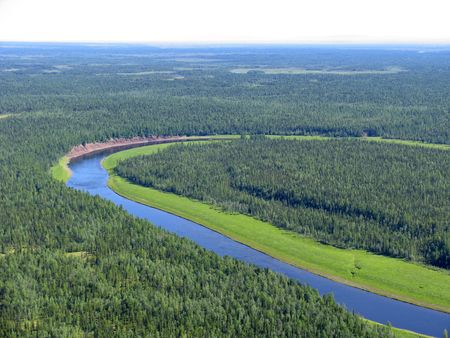 Aerial view on siberian taiga  landscape from a helicopter Stock Photo - 200531