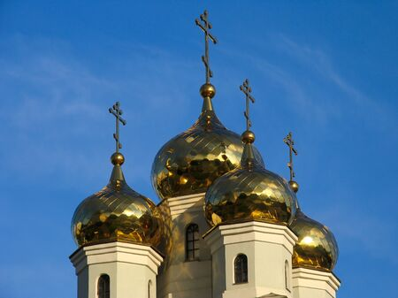 names: Domes of Cathedral in the names of all saints. Russia.  Ekaterinburg.