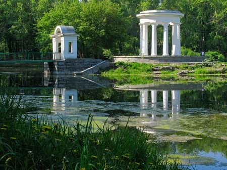 historical reflections: Rotunda on the pond. Russia.  Ekaterinburg
