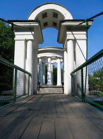 rotunda: Suspension bridge to rotunda Stock Photo