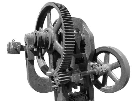 Old forging press on white background Stock Photo - 236353
