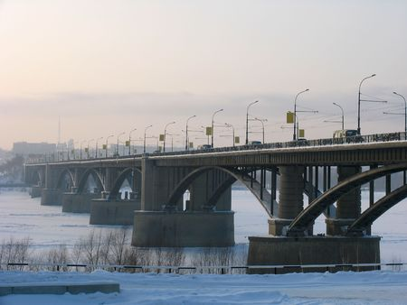 novosibirsk: Bridge over river Ob. Russia. Novosibirsk