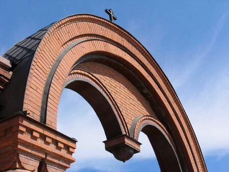 Arch of Alexander Nevskii Cathedral. Russia. Novosibirsk photo