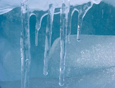 winter thaw: icicles Stock Photo