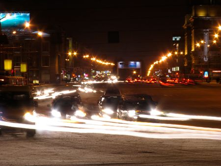 novosibirsk: The night view of Red avenue. Russia. Novosibirsk