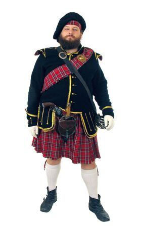scot: Scottish warrior in the medieval uniform