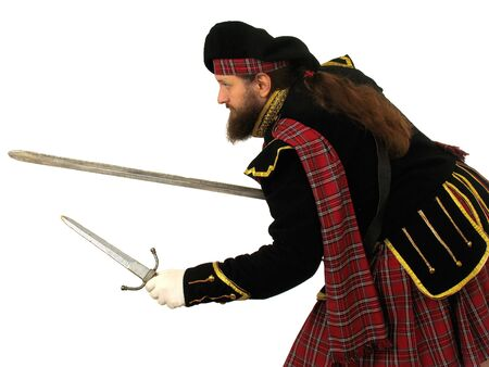 portly: Scottish warrior in the medieval uniform