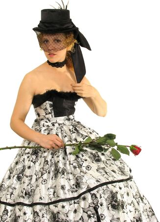 Smiling lady with rose in Polish  amazon clothes and silk hat photo
