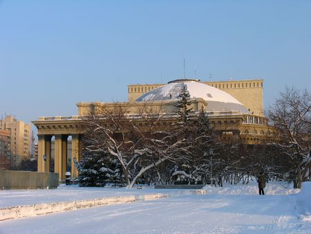 novosibirsk: Winter view on Novosibirsk Opera and  Theater. Russia. Novosibirsk
