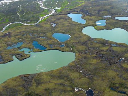 tundra: Aerial view on tundra landscape from a helicopter Stock Photo
