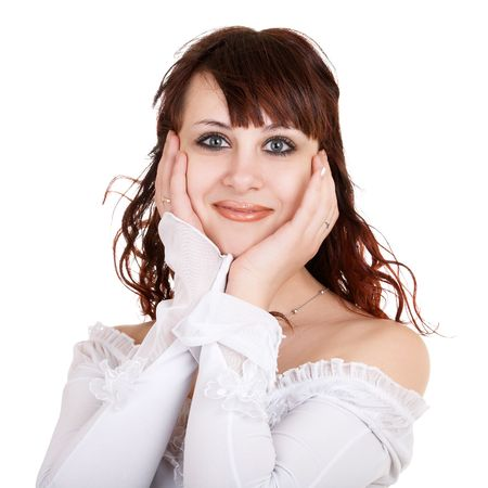 Portrait of pretty surprised girl on white background photo