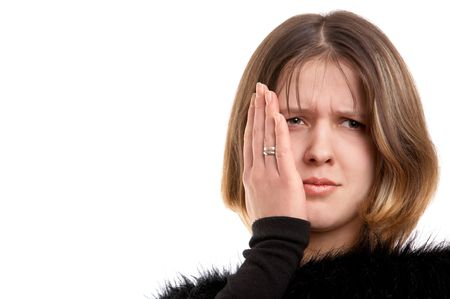 woe: Young woman with toothache