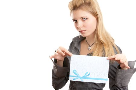 Girl with envelope in hands on white background photo