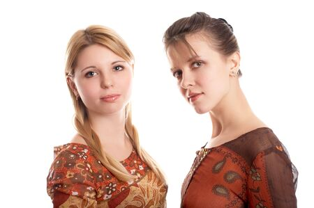 Portrait of girl friends on white background Stock Photo