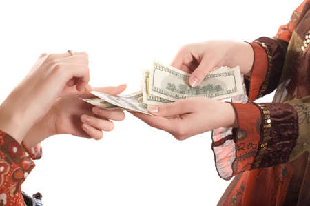 Girls hands with  money on white background Stock Photo - 935091