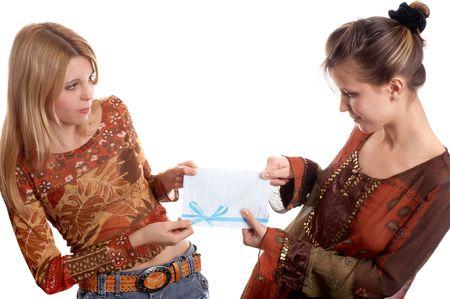 J�venes chicas lindas con dotaci�n en manos  Foto de archivo - 935093