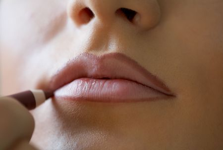 Close-up shot of work of make-up specialist. Low-focus image. Stock Photo - 3645763
