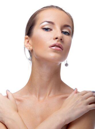 close-up portrait of beautiful blue eyed caucasian model on white Stock Photo - 3658259