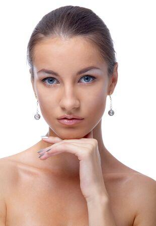 close-up portrait of beautiful blue eyed caucasian model on white Stock Photo - 3658260