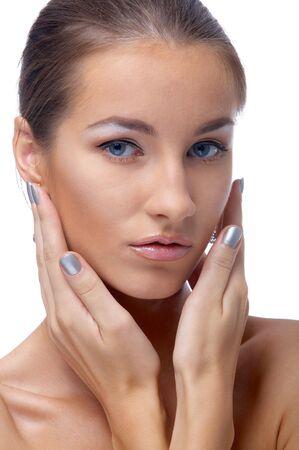 close-up portrait of beautiful blue eyed caucasian model on white Stock Photo - 3658255