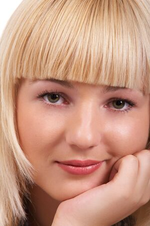 expressing: Portrait of blonde girl on the white background