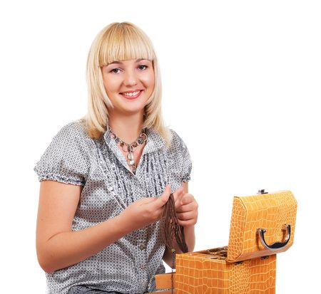 Girl with jewelry casket on white background photo