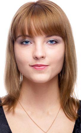 gladly: cerca de retrato de la bella de ojos azules una mujer mirando con mucho gusto
