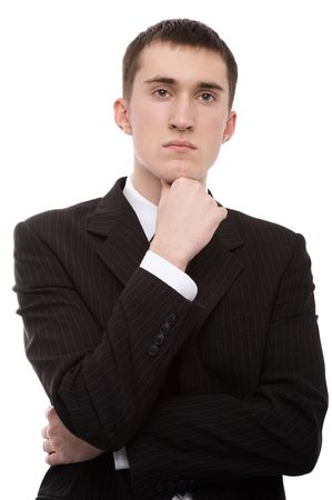 expressing: caucasian male person in business suit on white