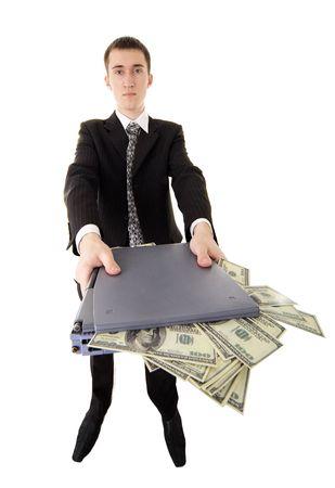 web-criminal with laptop and money on isolated background  photo
