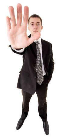 wide angle shot of caucasian male person in business suit on white photo