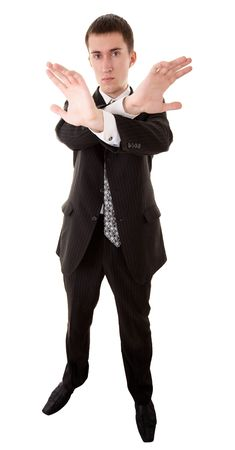 expressing: wide angle shot of caucasian male person in business suit on white Stock Photo