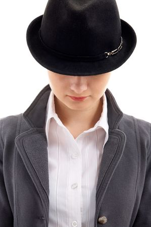 Portrait of young female model in black hat Stock Photo - 4097186