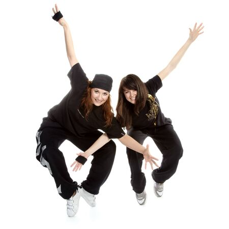 portrait of two two beautiful girls breakdancers photo