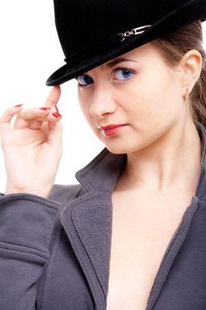 investigators: young female model on isolated background Stock Photo