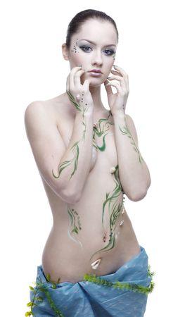 portrait of beautiful girl with mermaid bodyart Stock Photo