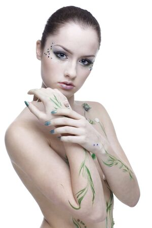 portrait of beautiful girl with mermaid bodyart Stock Photo - 4642474