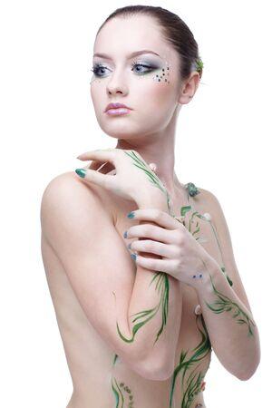 portrait of beautiful girl with mermaid bodyart Stock Photo - 4642473