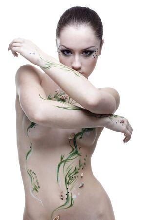 portrait of beautiful girl with mermaid bodyart Stock Photo - 4642475