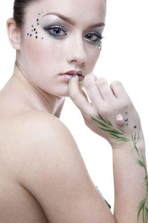 portrait of beautiful girl with mermaid bodyart Stock Photo - 4642496