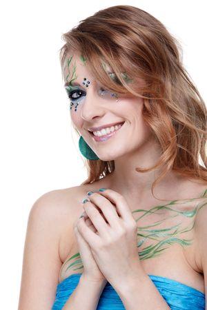 portrait of beautiful girl with bodyart of algae photo