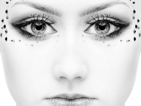 portrait of beautiful girl' half-face with mermaid bodyart Stock Photo - 5371314
