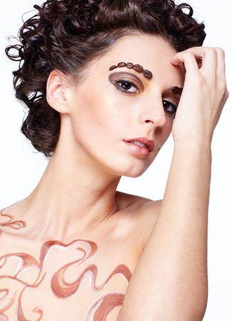 armenian woman: Portrait of girl with coffee theme body-art