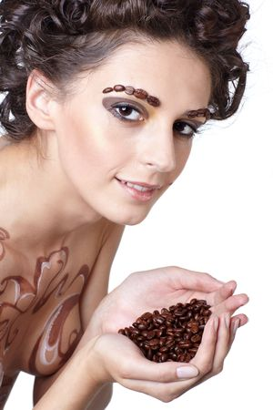 armenian woman: Girl with coffee theme body-art and coffee beans in hands
