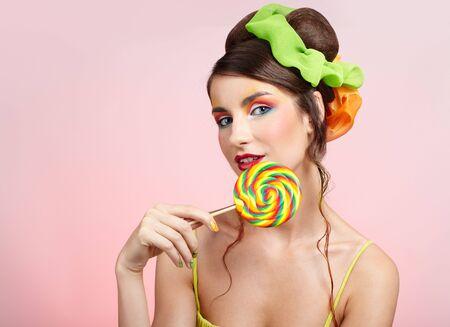 portrait of beautiful girl with big lollipop Stock Photo - 5714709