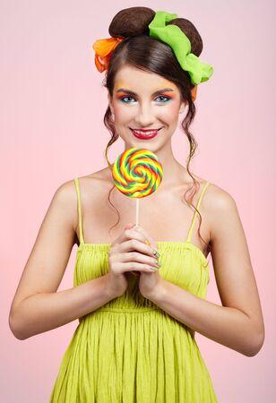 portrait of beautiful girl with big lollipop Stock Photo - 5714731