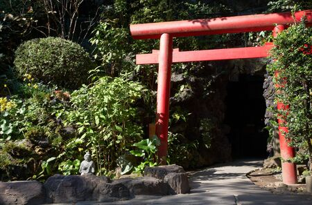Hase: Gates near Bentenkutsu - the small cave on the territory of Hase Temple in Kamakura, Japan