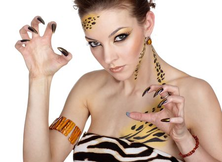 portrait of girll in cat make-up and bodyart Stock Photo - 5795017