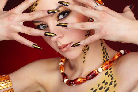 long nail: Ritratto di Cat - Girl Archivio Fotografico