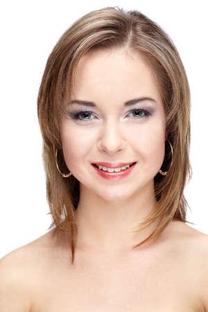 studio portrait of beautiful caucasian girl photo
